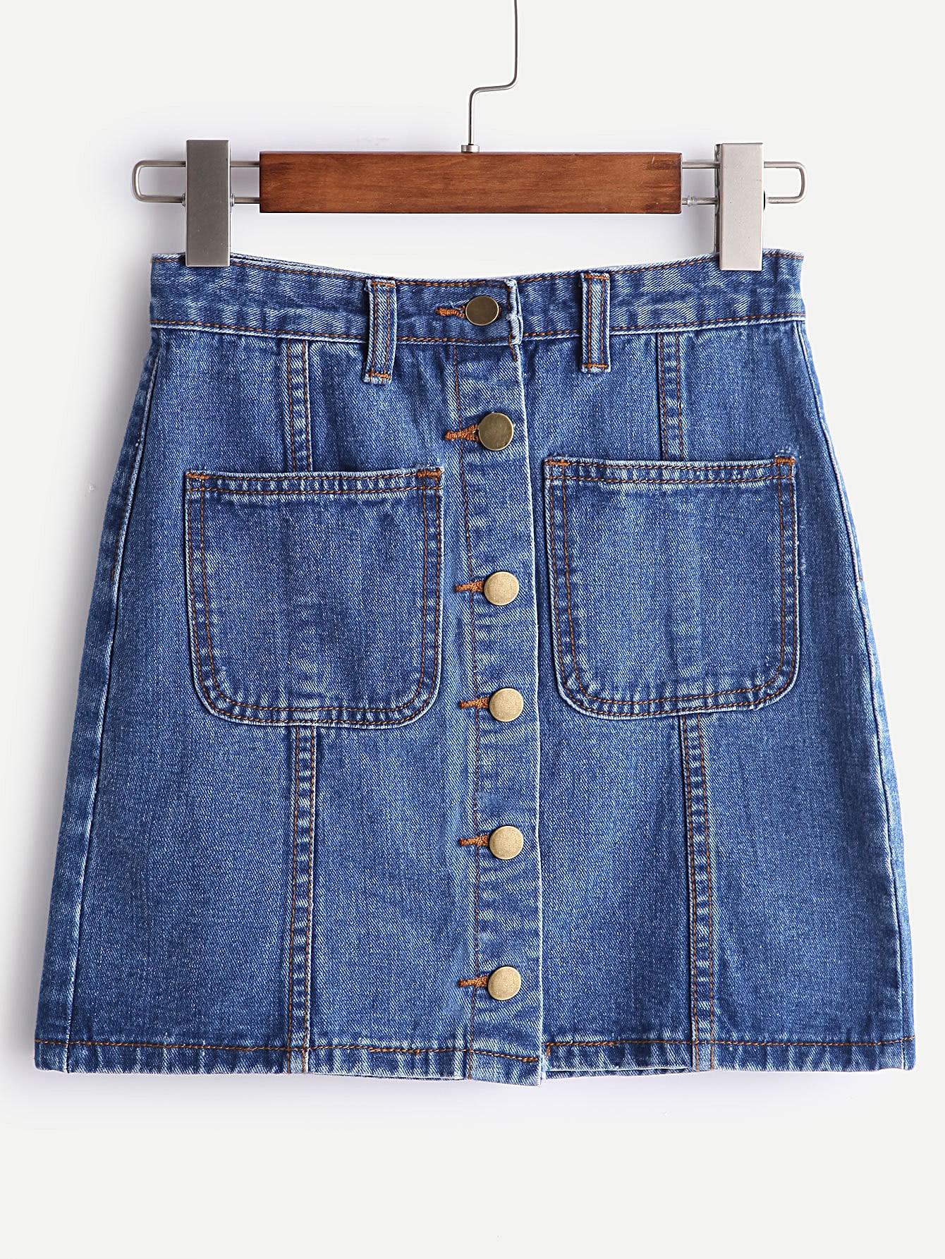 Blue Single Breasted Dual Pocket Denim Skirt
