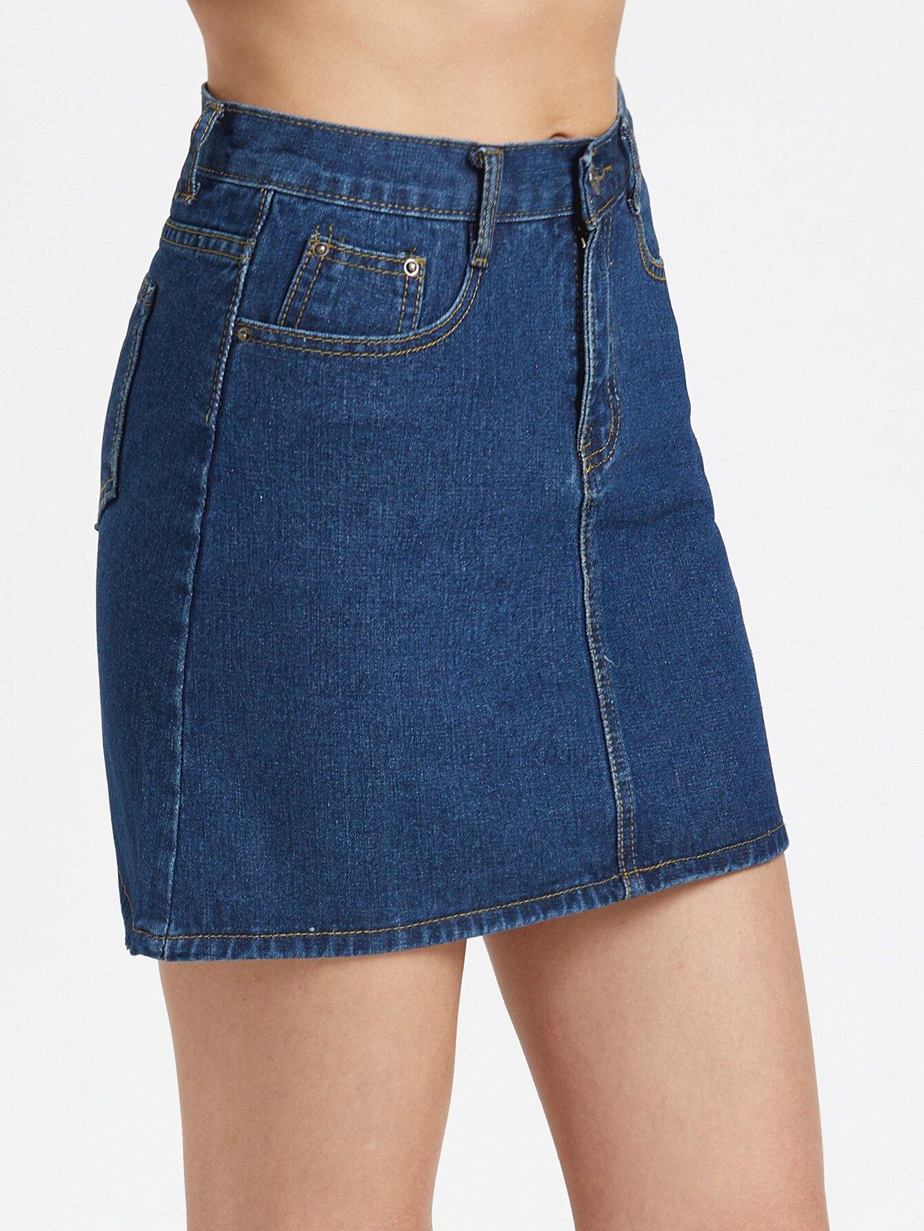 Dark Blue A-line Denim Skirt