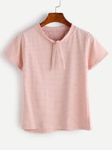 Pink Striped Tie Neck T-shirt