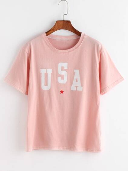 Pink Letter And Star Print T-shirt