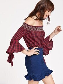 Tartan Plaid Off The Shoulder Bell Sleeve Top
