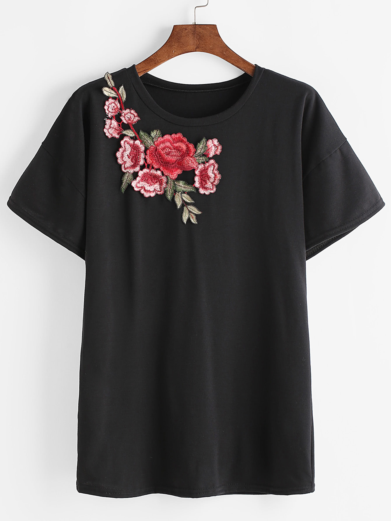 Black Drop Shoulder Applique T Shirt