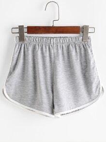 Heather Grey Contrast Trim Shorts
