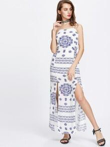 Blue Vintage Print Spaghetti Strap Slit Halter Dress