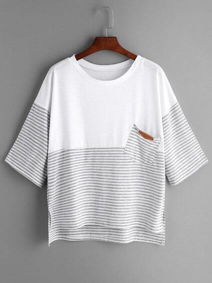 Light Grey Striped Contrast Yoke High Low T-shirt