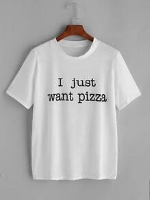 Brief-Druck-T-Shirt - weiß