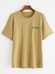 Camiseta con estampado de loves - amarillo