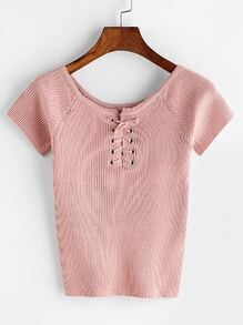 Pink Lace Up Front Ribbed Knitted T-shirt