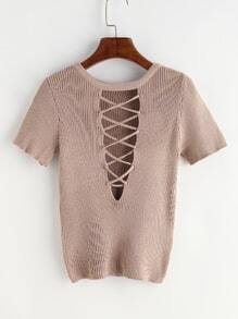 Khaki Lace Up Ribbed Knitted T-shirt