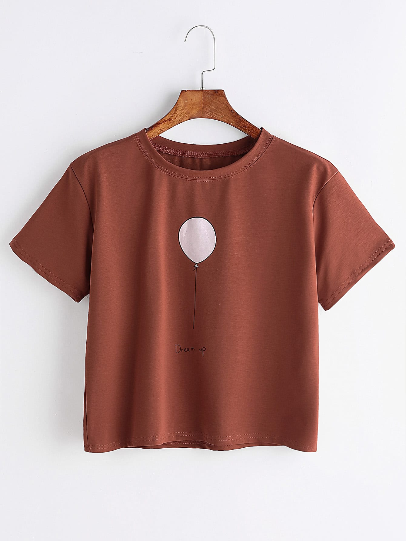 imprimer globe t shirt marron french romwe. Black Bedroom Furniture Sets. Home Design Ideas