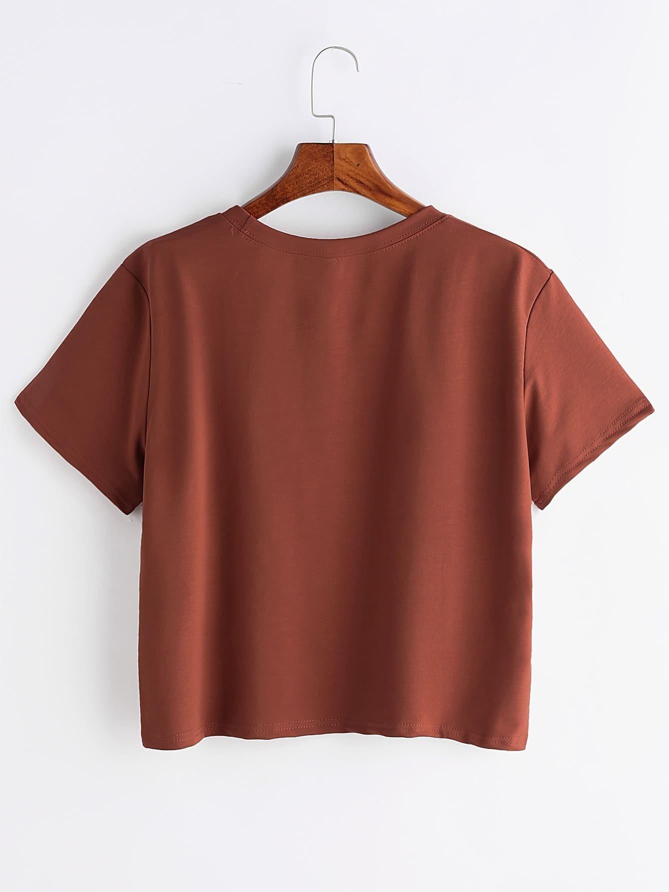 imprimer globe t shirt marron french romwe. Black Bedroom Furniture Sets. Home Design Ideas