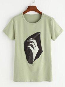 Shirt avec le patch de la main - Vert