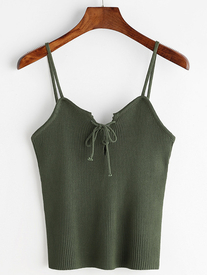 Green Lace Up Front Ribbed Knitted Cami Top