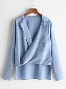 Blue Drape Front High Low Chiffon Blouse