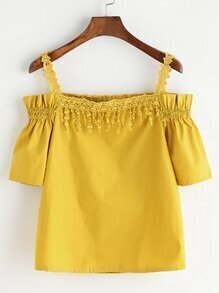Yellow Crochet Detail Cold Shoulder Shirred Top