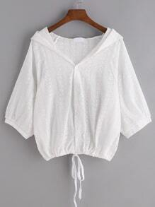White Drawstring Hem Floral Hooded Blouse