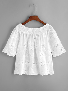 White Shirred Off The Shoulder Eyelet Embroidered Top