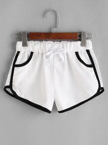 Shorts ribete en contraste con cordón - blanco