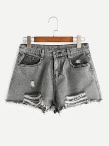 Shorts deshilachados en denim rotos - gris