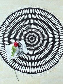 Manta playera redonda ribete con flecos - negro blanco