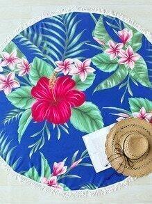 Blue Flower Print Fringe Detail Round Beach Blanket