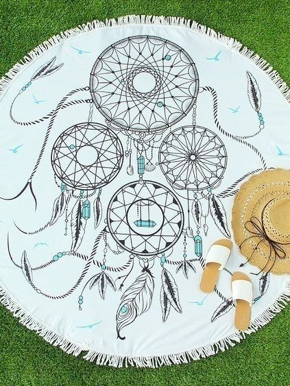 White Feather Print Fringe Round Beach Blanket