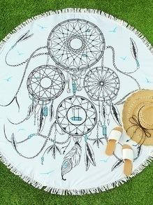 White Feather Print Fringe Round Beach Blanket