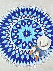 Manta playera redonda con estampado geométrico con flecos - azul
