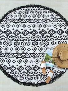 Manta playera redonda con estampado geométrico ribete con flecos - negro blanco