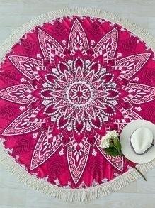Manta playera redonda con estampado de flor ribete de flecos en contraste - rojo