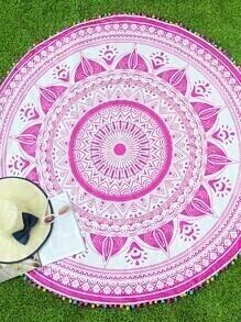 Manta playera redonda con estampado ribete con pompones - rosa