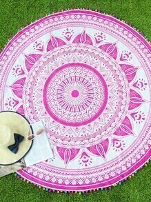 Pink Printed Pom Pom Trim Round Beach Blanket