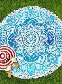 Manta playera redonda con estampado de lotus con pompones - azul