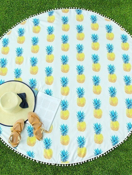 Pineapple Print Pom Pom Trim Round Beach Blanket