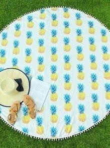 Pineapple Print Pom Pom Trim Round Beach Blanket
