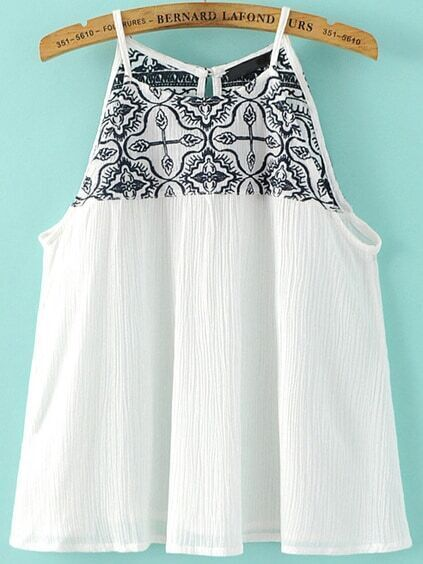 White Embroidery Keyhole Back Cami Top