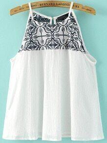 Top con bordado espalda con aberturas - blanco