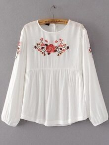 White Flower Embroidery Long Sleeve Blouse
