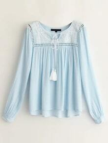 Blue Embroidery Tassel Tie Hollow Out Blouse