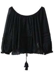 Black Embroidery Boat Neck Tassel Tie Blouse