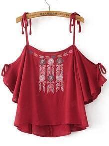 Blusa con bordado y hombros descubiertos - rojo