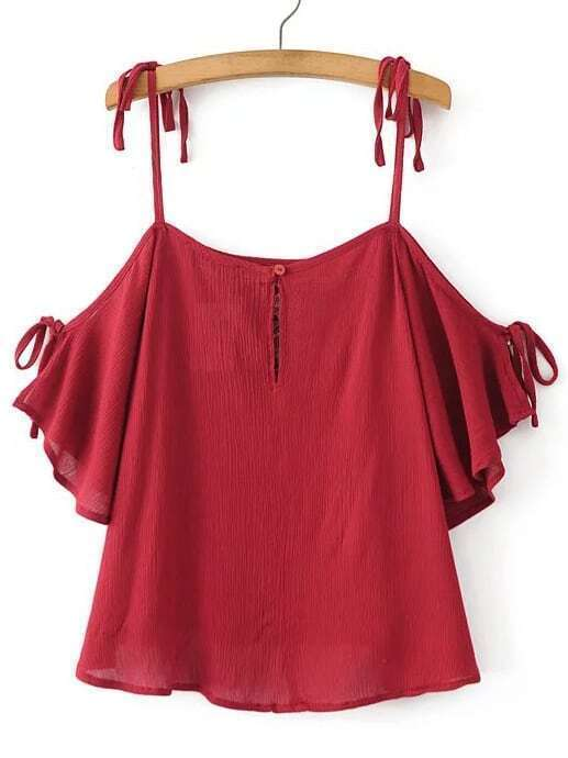 Blouse d 39 paule froide brod e rouge french romwe for Interieur paupiere inferieure rouge