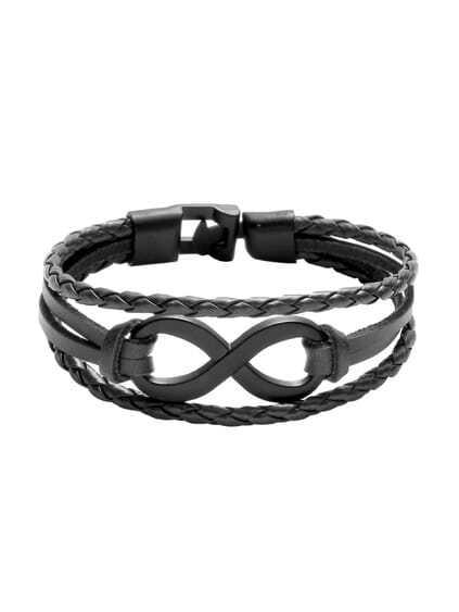 Black Layered Braided Bracelet