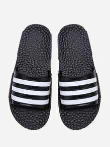 Black Striped Flat Slippers