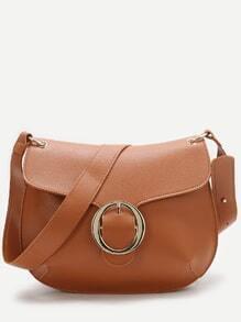 Khaki Buckle Detail Saddle Bag
