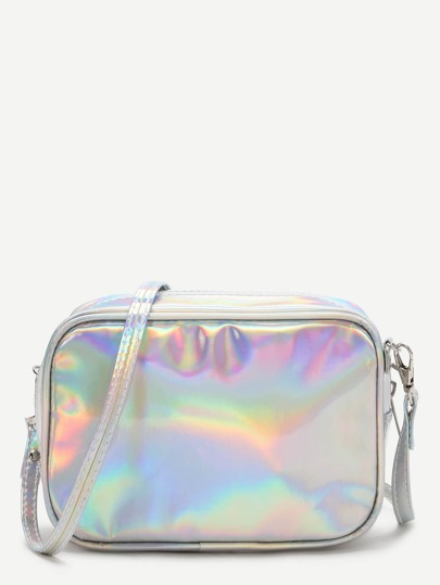 Silver Casual PU Crossbody Bag