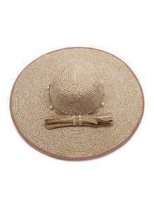 Sombrero de paja con perla de imitación con cordón de lazo - kaki