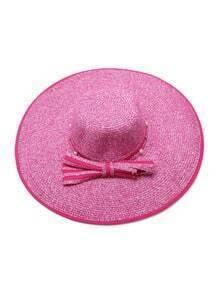 Sombrero de paja con perla de imitación con cordón de lazo - rosa