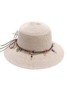 Sombrero de paja con detalle de abalorios - albaricoque