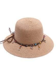 Sombrero de paja con detalle de abalorios - camello